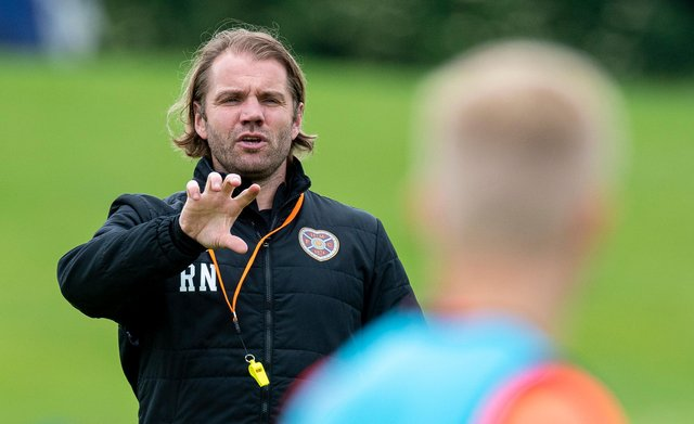 Robbie Neilson takes Hearts training ahead of the Premier Sports Cup season opener in Peterhead on Saturday. (Photo by Ross MacDonald / SNS Group)