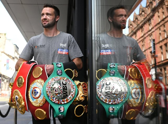 Scottish undisputed Super-Lightweight World Champion Josh Taylor with all four belts following his historical win over Jose Ramirez in Las Vegas. (Picture: John Devlin)