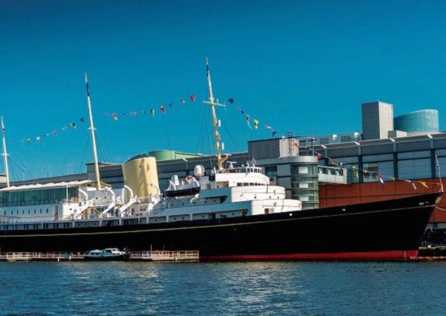 The Royal Yacht Britannia is now berthed at the Ocean Terminal in Leith, Edinburgh.
