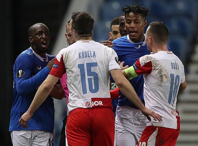 Glen Kamara accused Ondrej Kudela of making a racist comment during Rangers vs Slavia Prague (Getty Images)