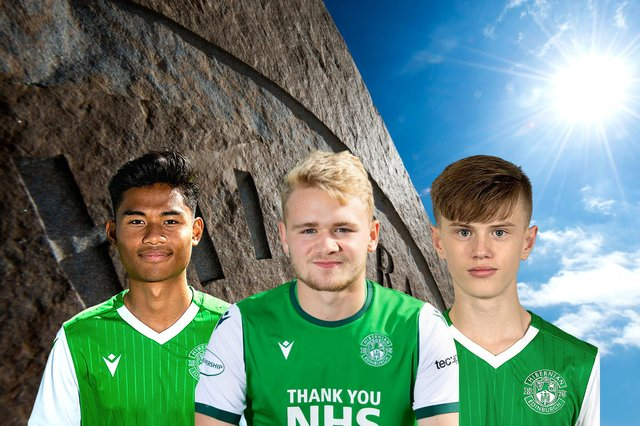 Hibs trio Josh Currie, centre, Yrick Gallantes, and Oscar MacIntyre are in line for season-long loan moves to Civil Service Strollers - but only after the two sides meet in a pre-season friendly