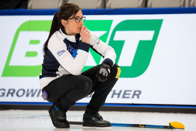 Eve Muirhead ponders her next move during Scotland's match against Korea at the LGT World Women's Curling Championship. Picture: Steve Seixeiro/WCF
