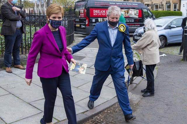 Nicola Sturgeon was campaigning with Angus Robertson in Edinburgh Central   Pic: Lisa Ferguson