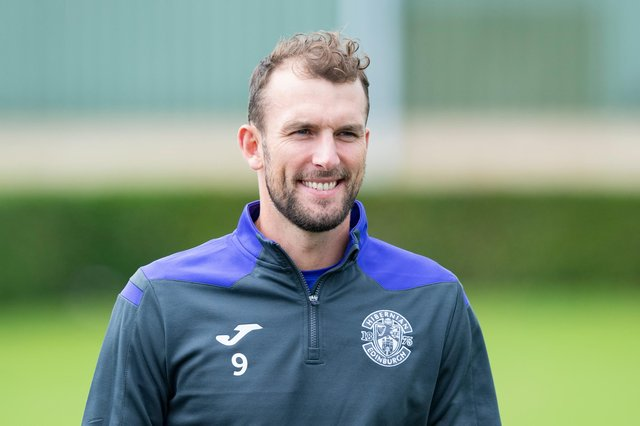 Christian Doidge is all smiles after returning to the Hibernian Training Centre after battling Covid-19