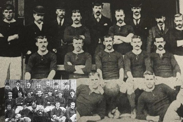 Both Hearts and Hibs (inset) had enjoyed successul 1894/95 seasons before they met for the first time on league duty in on September 28 1895