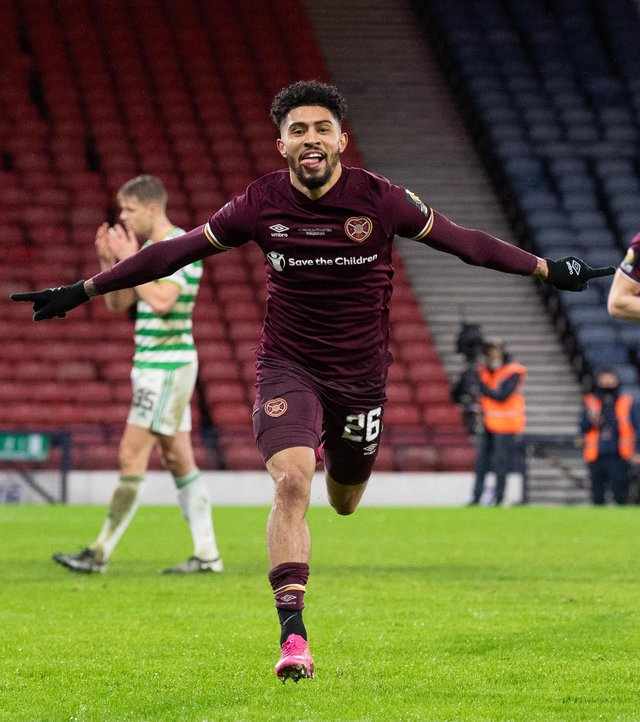 Josh Ginnelly celebrates after scoring against Celtic in the Scottish Cup final. Picture: SNS