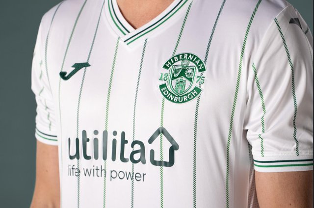Hibs new away kit features a white design with green pinstripes