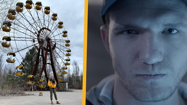 (L-R) Alexandra Gilbert on location in the Chernobyl Exclusion Zone and a still from Margherita Mazza's film ALBA.