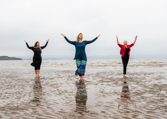 Performers Nerea Bello and  Mairi Morrison joined theatremaker Julia Taudevin on Silverknowes Beach to help launch this year's Made in Scotland showcase at the Fringe. Picture: Lisa Ferguson