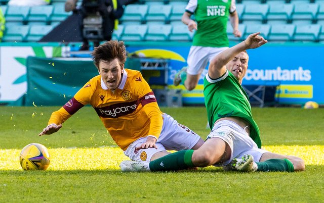 Ryan Porteous makes a crucial tackle to halt Chris Long when the Motherwell striker looked certain to score. Picture: SNS
