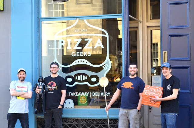 Ben (communications and tech), Fin (co-founder), Pat (co-founder) and Tom (general manager) from Pizza Geeks