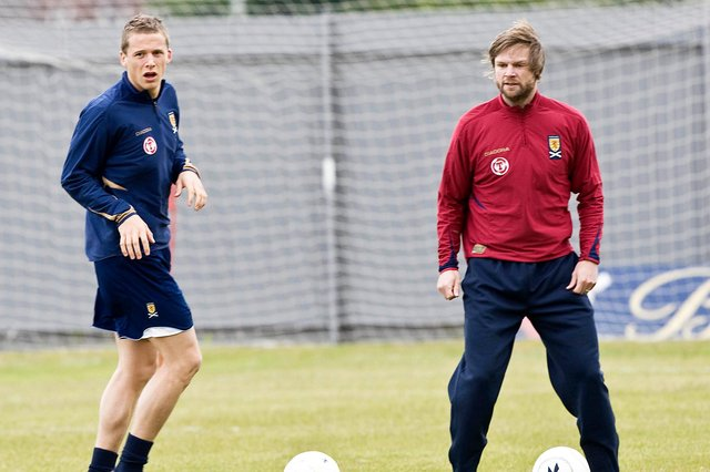 Christophe Berra and Steven Pressley pictured during Scotland training in 2008. Picture: SNS