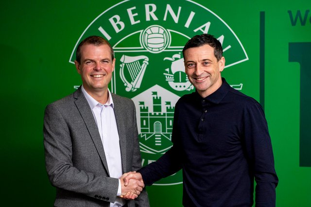 Hibs manager Jack Ross (right) has made his signing targets known and tasked sporting director Graeme Mathie (left) with trying to bring them to Easter Road. Photo by Craig Williamson / SNS Group