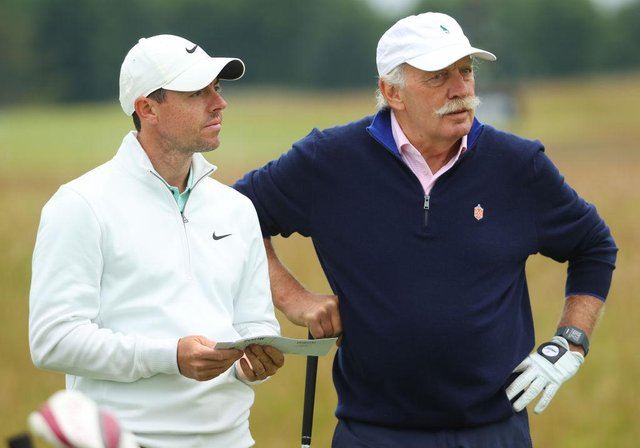 Rory McIlroy with Celtic's principal shareholder Dermot Desmond during the abrdn Scottish Open Pro Am at The Renaissance Club. Picture: Andrew Redington/Getty Images.