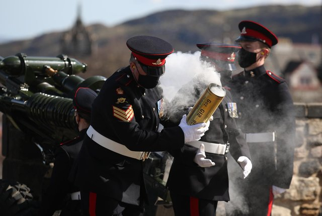 Members of the 105th Regiment Royal Artillery fire a 41-round gun salute at Edinburgh Castle, to mark the death of the Duke of Edinburgh on April 10 picture: Andrew Milligan/PA Wire