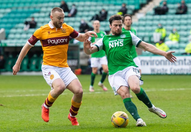 Hibs left-back Lewis Stevenson challenges Allan Campbell the last time the teams met in February. Picture: SNS