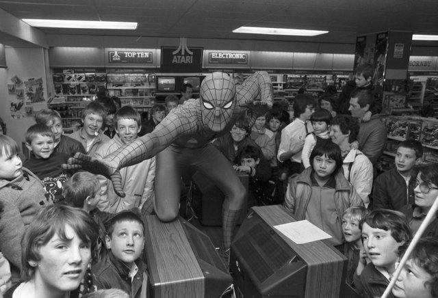 Children with Spider-Man at the Princes Street John Menzies' toy department in April 1983.
