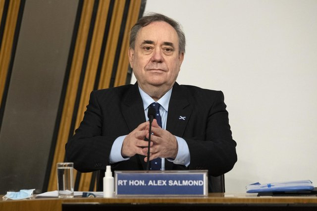 Former first minister Alex Salmond at the Scottish Parliament Harassment committee, which is examining the handling of harassment allegations him, at Holyrood in Edinburgh