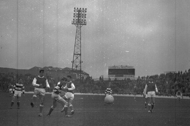 Action from Hibs' 11-1 win against Hamilton Accies on November 6 1965. Eric Stevenson hit a hat-trick; Jim Scott and Jimmy O'Rourke netted doubles, and Peter Cormack, Davie Hogg, and Joe Davis all scored once along with an own goal by Jim Small