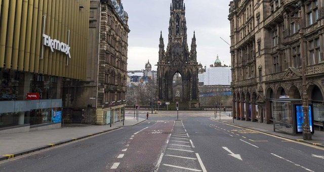 The streets of central Edinburgh remain empty of early morning commuters during lockdown.