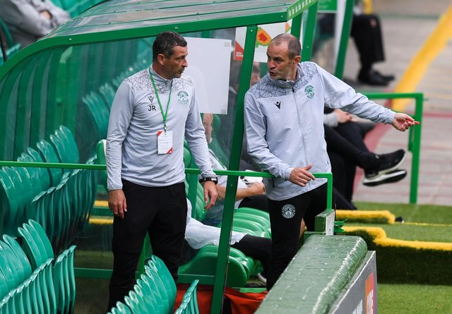 Hibs boss Jack Ross, left, and his assistant John Potter during Hibs' 3-1 defeat by Celtic.