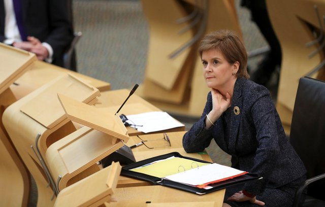 First Minister Nicola Sturgeon during First Minister's Questions at the Scottish Parliament in Holyrood, Edinburgh picture: PA/Russell Cheyne