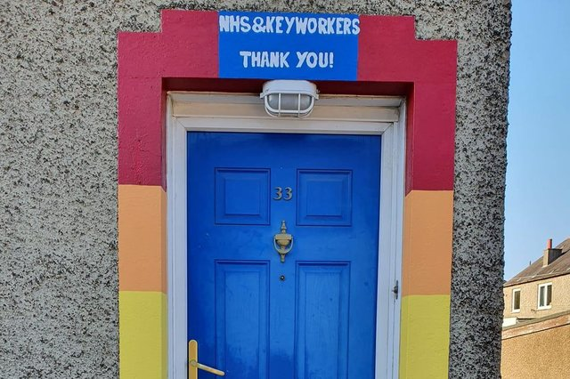 Andrew Aitken has painted his door frame to celebrate the NHS.