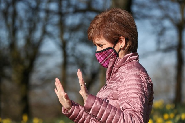 Nicola Sturgeon at Ruchill Park in Glasgow during campaigning for the Scottish Parliamentary election. Picture date: Saturday April 3, 2021.