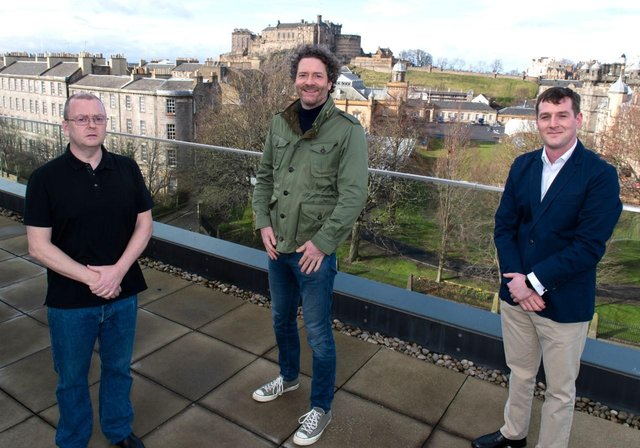 From left: Paddy, Chris and Gavin at Chroma Ventures' portfolio company Parsley Box's Quartermile headquarters in Edinburgh. Picture: contributed.