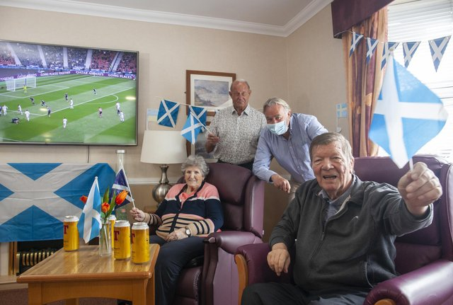 Alan Rough (second right) with Annie Moffat, Jim Kennedy and Eddie Craig at Renaissance Care's Croftbank House Care Home in Glasgow.