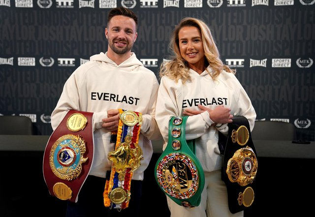 Josh Taylor, the undisputed super light-weight world champion, with his fiancee Danielle Murphy during a press conference at the new Sports Direct flagship store on Oxford Street, London. Picture: Kirsty O'Connor/PA Wire