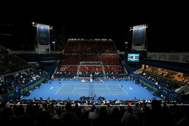 The men's final of the Qatar Open will be held on Centre Court of the Khalifa International Tennis & Squash Complex, in Doha, which has a seated capacity of 7,000. Though, due to Covid pandemic restrictions, attendance will be limited to 10% of its maximum capacity. (Pic: Getty)