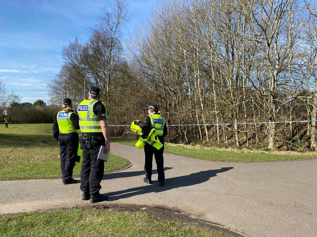Police cordon off areas by Boghead Burn near Linkston Way in Bathgate after a body was found in water in the area (Photo: Lisa Ferguson).