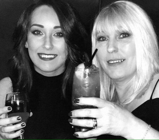Kirsty Maxwell and her mother Denise Curry enjoying a drink.