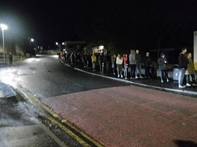 Queues at 10.45pm outside St Joseph's Centre, Balerno