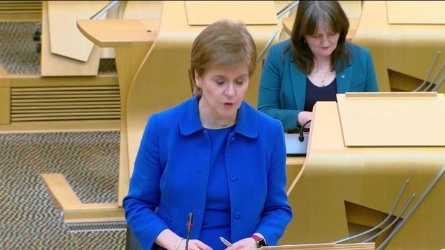 Nicola Sturgeon said she hoped travel to other parts of the UK could resume from April 26. Picture: Scottish Parliament TV