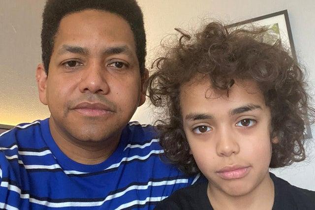 Antonio Caraballo and his ten-year-old son Sami