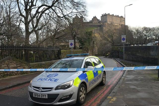Police sealed off the area around Princes Street Gardens in January 2018. Pic: Jon Savage