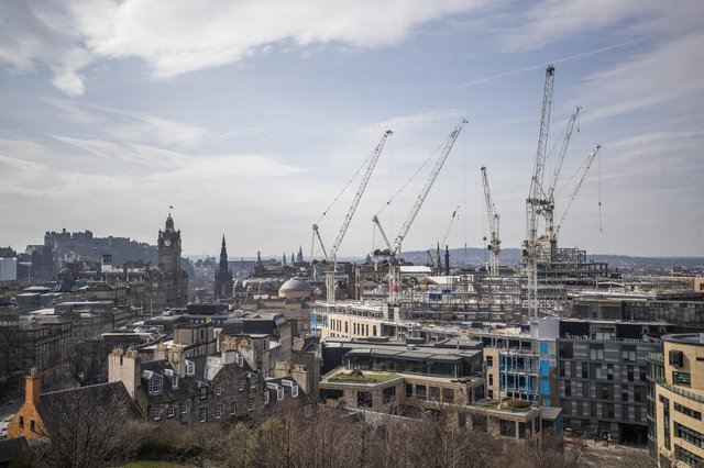 The construction site of the new St James' Shopping Centre that is being built in Edinburgh city centre, during the coronavirus outbreak.