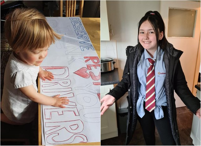 Little Eva Pujdak helps make the poster for her father's taxi, while one yongster dressed like her dad for 'dress like a superhero day' at school in support of Lothian bus drivers. Pictures: Don Pujdak/ Stephanie Lynch