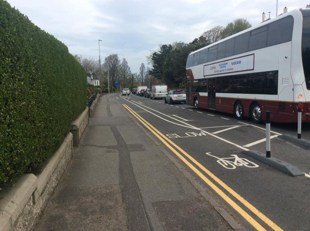 Buses unable to reach bus lane and not a bike in sight!