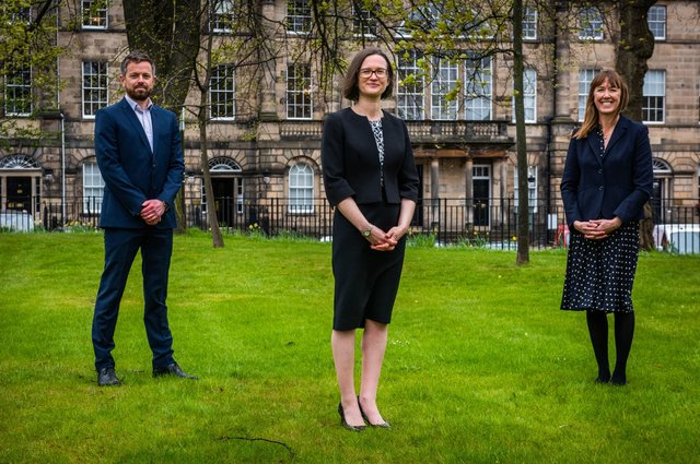 Craig Roberts, Alex Smith and Nicola Mitchell are the latest announcements at legal firm Dickson Minto. Picture: Chris Watt Photography