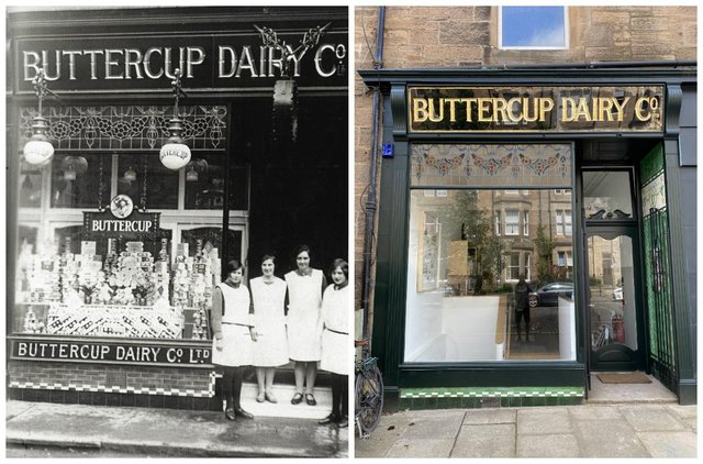 The Buttercup Dairy shop and staff at 48 Warrender Park Road in the 1920s and today as the new office of Fraser/Livingstone Architects