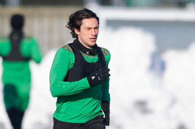 Back from injury and back in the squad, Hibs midfielder Joe Newell is still weighing up his future as talks on a contract extension continue. Photo by Mark Scates / SNS Group