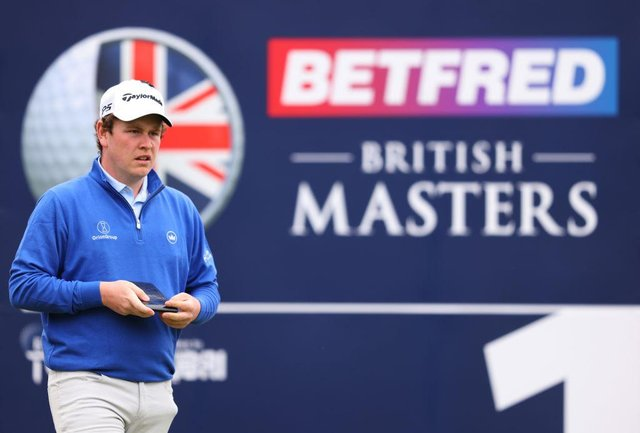 Bob MacIntyre  looks on from the first tee during the third round of the Betfred British Masters hosted by Danny Willett at The Belfry. Picture:  Richard Heathcote/Getty Images.