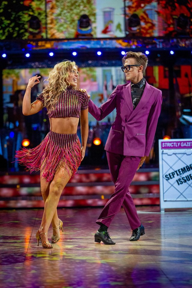 Amy Dowden and Tom Fletcher during the dress run for the first episode of Strictly Come Dancing 2021.