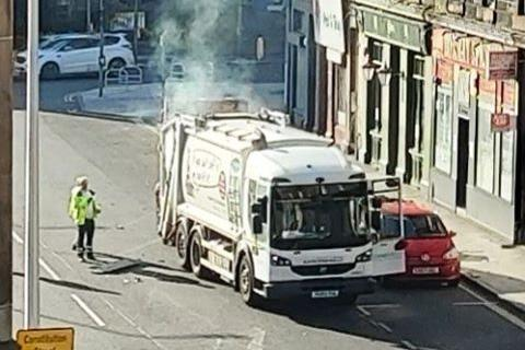 Bin lorry catches fire in Edinburgh after reports of 'explosion'