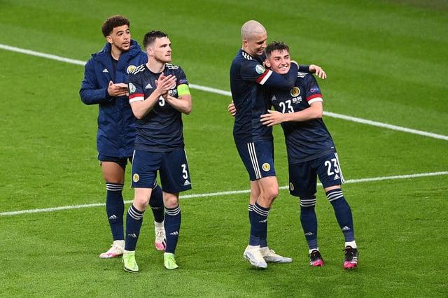 Scotland celebrate the draw at Wembley.