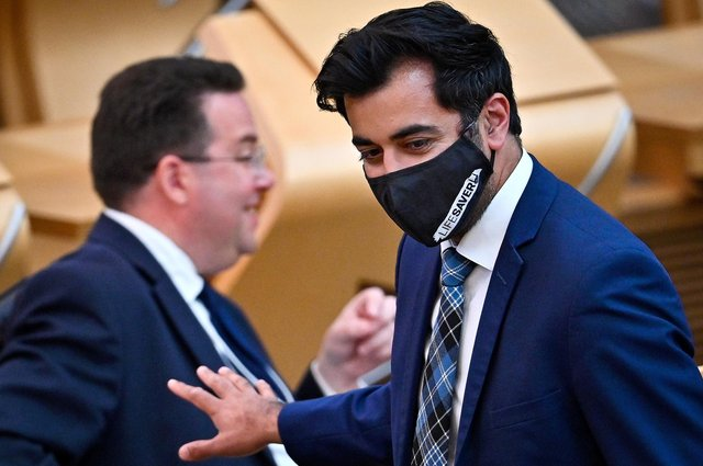 Humza Yousaf, Cabinet secretary for health and social care, arrives for the statement at the Scottish Parliament in Edinburgh. Picture: PA