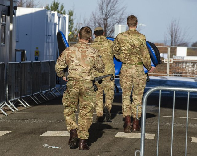 The army help set up a Covid 19 vaccination centre at Queen Margaret University, Edinburgh